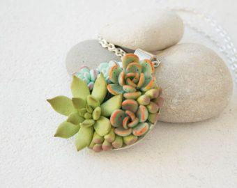 Green Blue Succulent Necklace Pendant Wholesale Metal Basis Medallion Pendant Jewelry Succulent Wedding Bridal Birthday Accessory Gifts by eteniren. Explore more products on http://eteniren.etsy.com