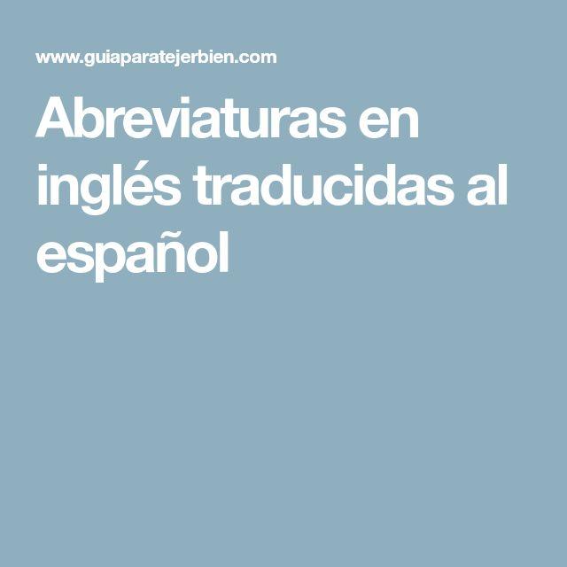 Abreviaturas en inglés traducidas al español