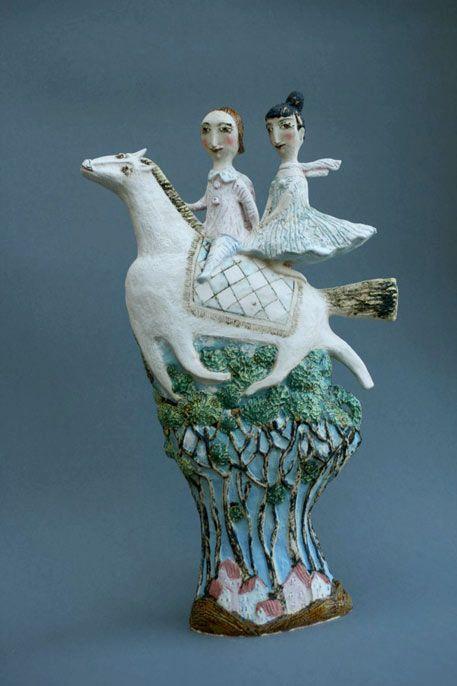 Very charming 'Tam visoko' by Abramtsevo art colony-based Russian ceramic artist Elya Yalonetskaya. via Venice Clay Artists