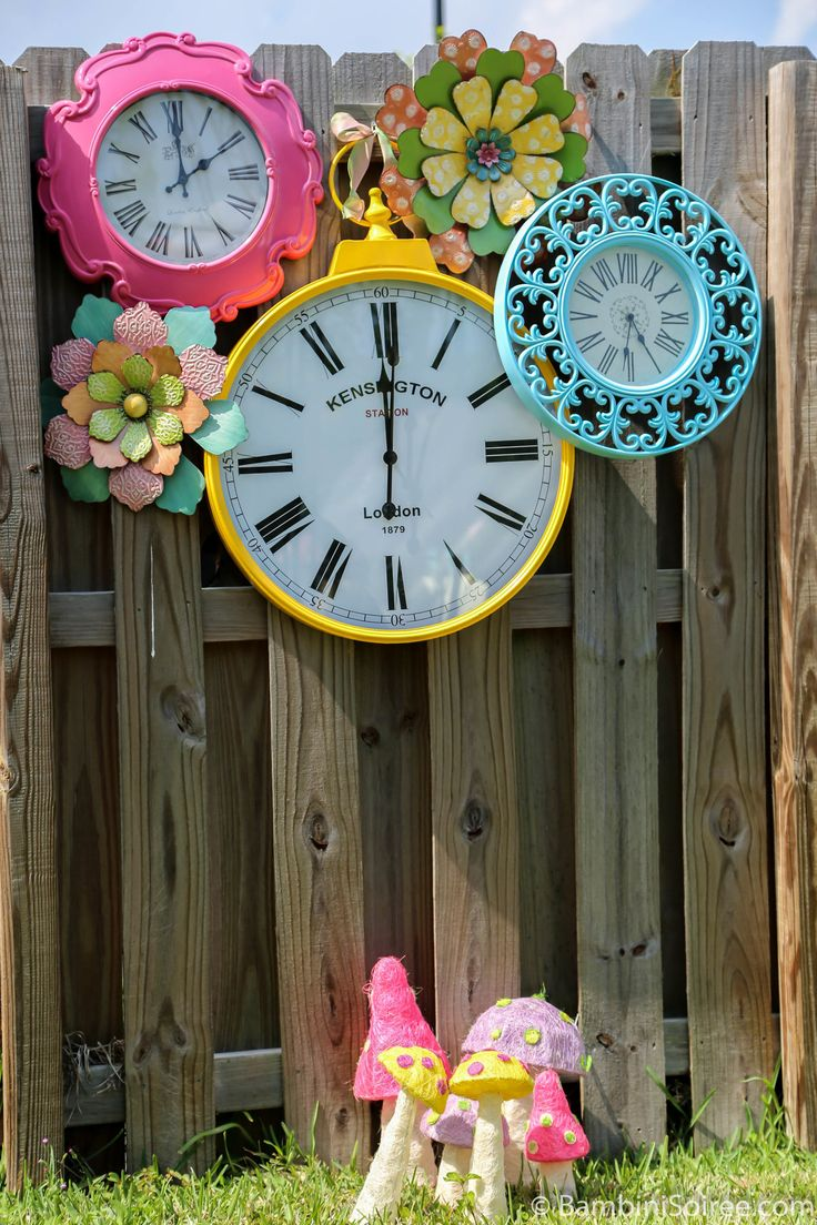 Gorgeous clocks Alice in Wonderland Birthday garden