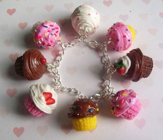 polymer clay cupcake charm bracelet by ScrumptiousDoodle on Etsy, $32.00