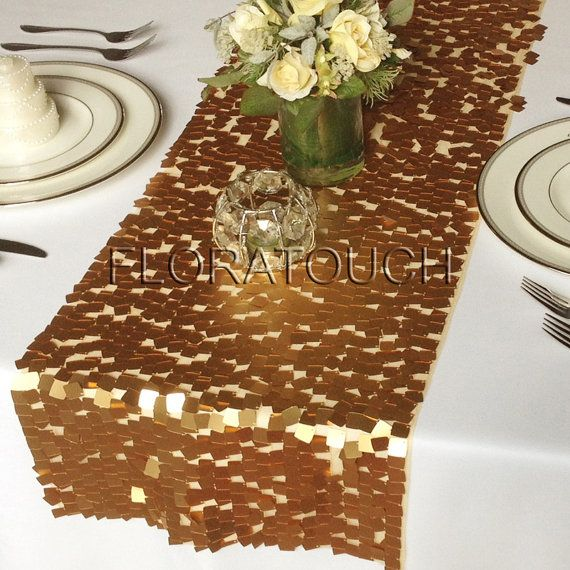 Gold Dazzle Square Sequins Wedding Table Runner by floratouch, $15.00 for Dawn