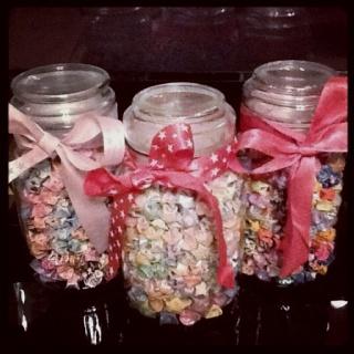 3 jars of my stars! I use to love making these stars: Stars, Hobbies, Jars