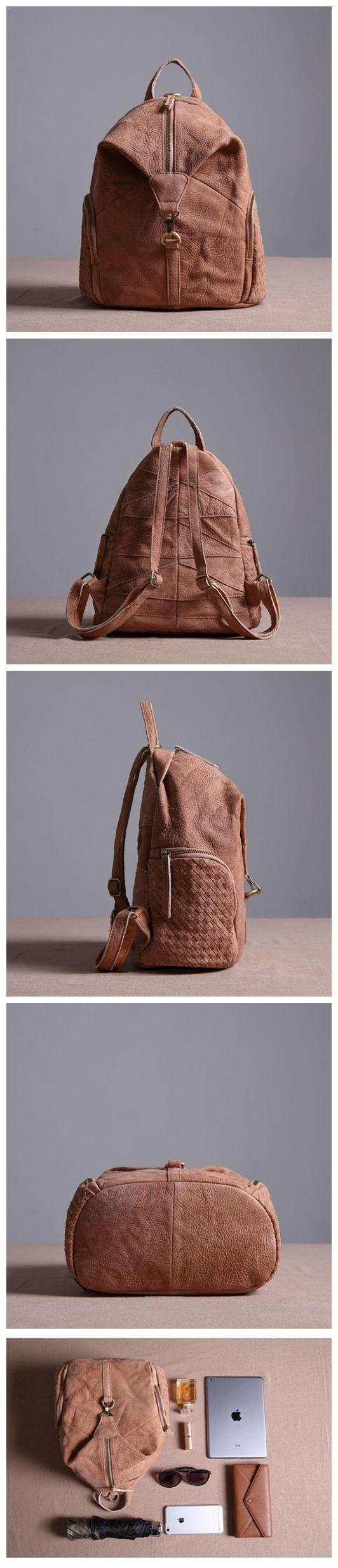 LISABAG--Vintage Genuine Leather Backpack Small Casual Rucksack Leather Backpack for Men & Women JMX01