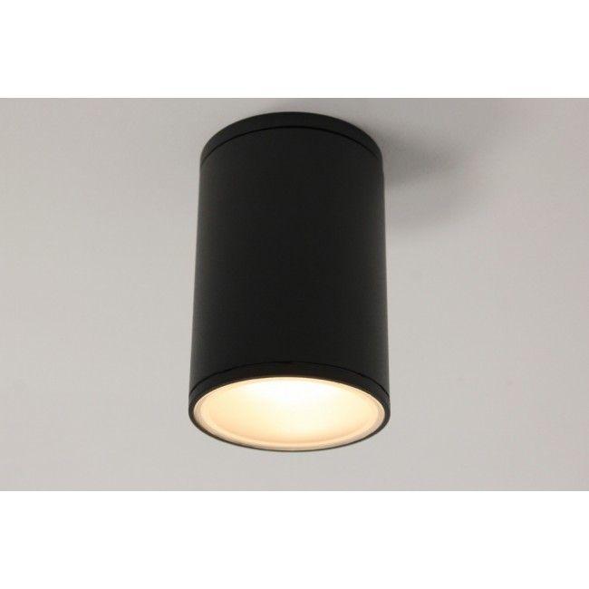 Plafondlamp / Opbouw spot 78599 Zwart   Rond