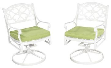 Home Styles Biscayne Swivel Chair with Cushion in White Finish - transitional - Outdoor Chairs - Cymax