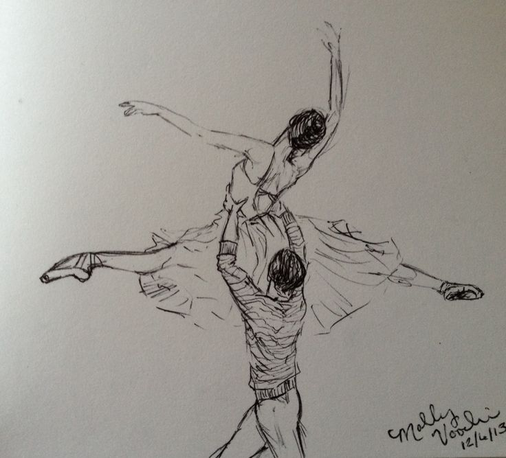 Ballet partnering.  sketch, by MGV.