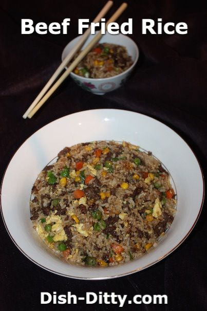 Chinese Beef Fried Rice Recipe by Dish Ditty Recipes - Chinese Beef Fried Rice is really simple to make. It's one of my 'goto' recipes for a one-pot meal. I use leftover rice, pre-marinated beef (done in large batches), and frozen vegetables. It doesn't get easier than this.   - http://www.dish-ditty.com/recipe/chinese-beef-fried-rice-recipe/