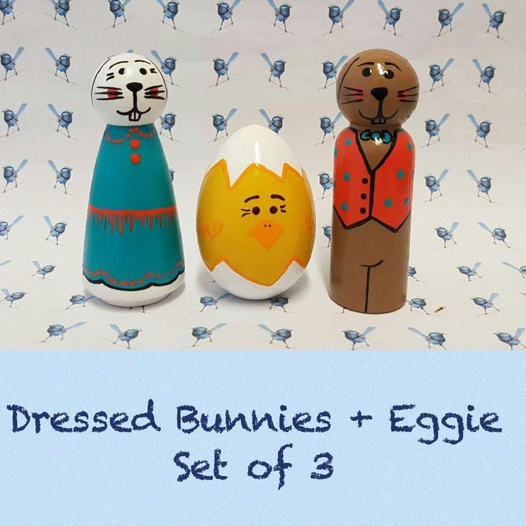 Wooden Peg Dolls - Easter Bunnies & Eggs by bluewrenstudios on Etsy