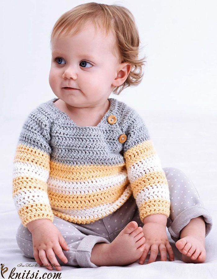 free pattern for beautiful baby sweater. different sizes available. crochet for baby clothes