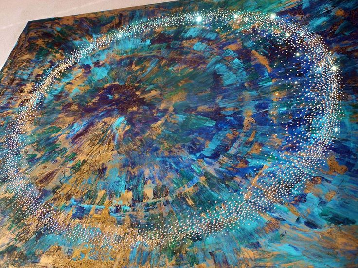 Swarovski crystals decoration on abstract painting 100x100cm