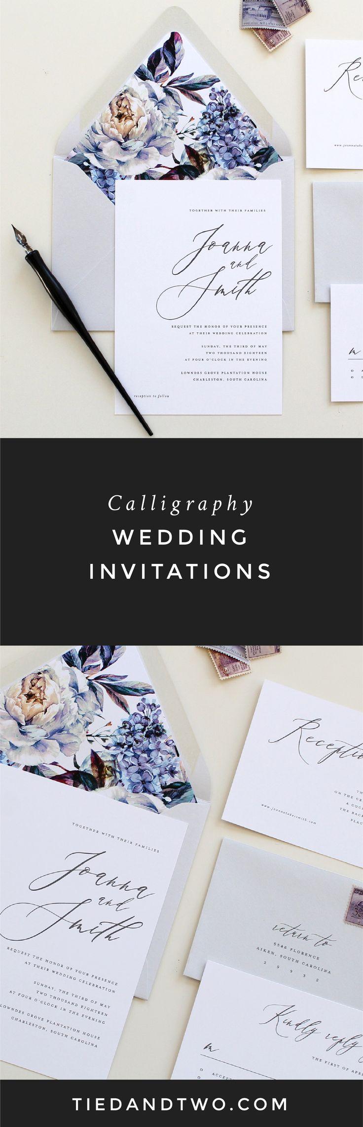 diamond wedding invitations%0A Purple Calligraphy Wedding Invitation   Modern Calligraphy Wedding Invite   Lilac Modern Wedding Invitation  Lavendar