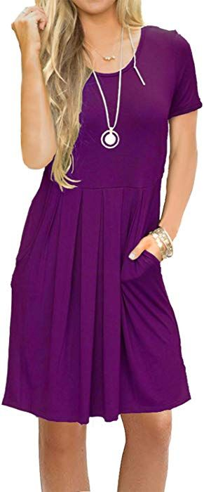 d8038741495a AUSELILY Women s Short Sleeve Pockets Pleated Loose Swing T-Shirt Dress  Purple Gray S at Amazon Women s Clothing store