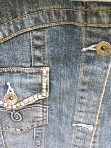 PETROL WOMEN'S DENIM JACKET SIZE LARGE with embellished pockets