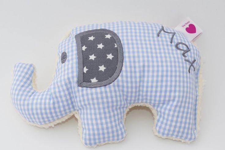 Kuscheltiere - Kissen Elefant evtl. mit Wunschnamen - ein Designerstück von von-Eulen-und-Lerchen bei DaWanda