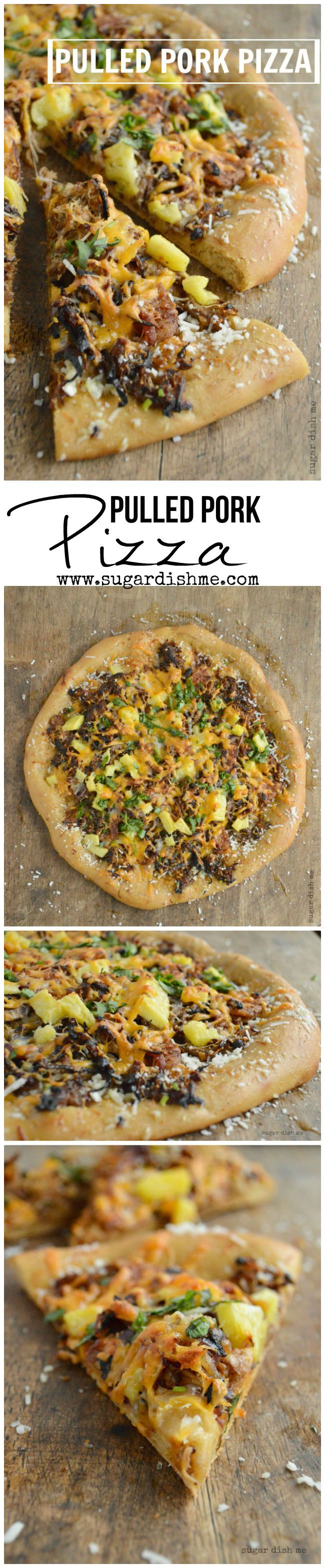 Pulled Pork Pizza  A Copycat Mellow Mushroom Pizza Crust topped with caramelized onions, Apple Butter Pulled Pork, bacon, pineapple, and 3 kinds of cheese. This Pulled Pork Pizza is restaurant quality from the dough to the toppings, but is super simple to make at home! The pork and the dough can both be made ahead of time.