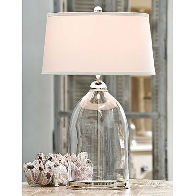 fill it with white seashells??: Table Lamps, Beach House, Polished Nickel, Glasses, Lighting, Living Room, Glass Lamps, Nickel Dome