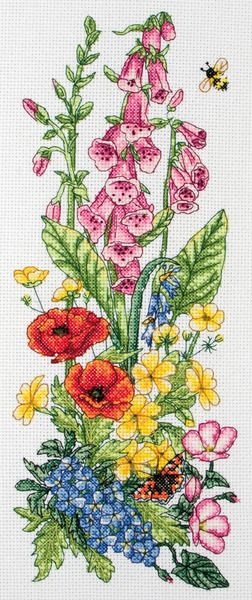 Anchor Countryside Floral - Cross Stitch Kit. Complete kit contains 14 count white Aida, pre-sorted Anchor floss, needle, chart and full instructions. Finished