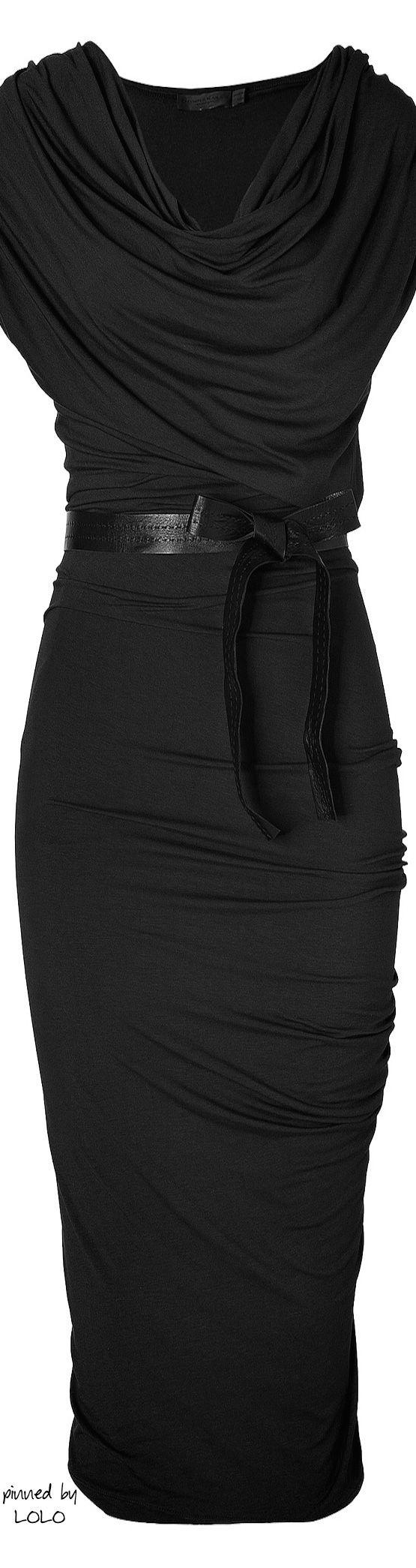 Donna Karan New York Black Draped Jersey Dress