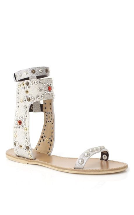 Isabel Marant Accessories Chalk Cole Strassed and Studded Sandals