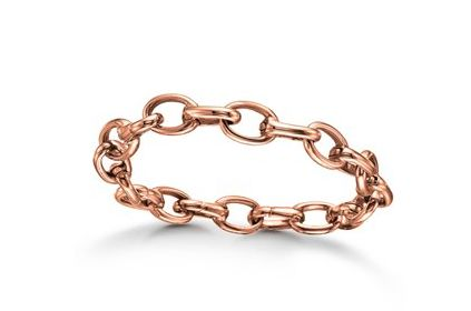 Rose gold plated bracelet that gives your look a  bit on edge to a feminine look. It can be personalized with beautiful charms of your own individual choice