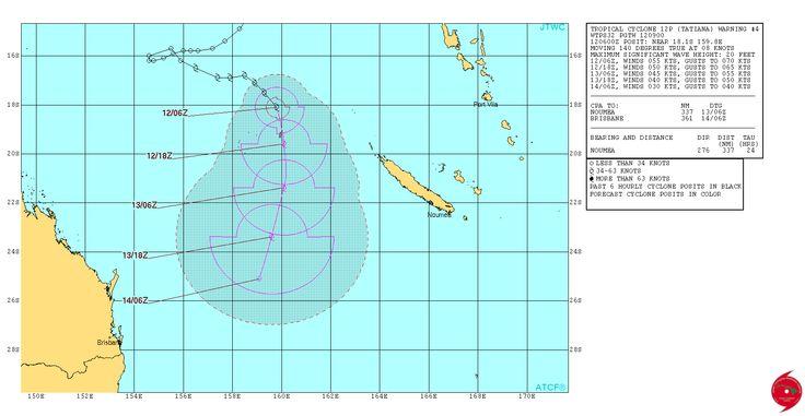 Bulletin cyclonique (tempête tropicale ou cyclone) : TATIANA