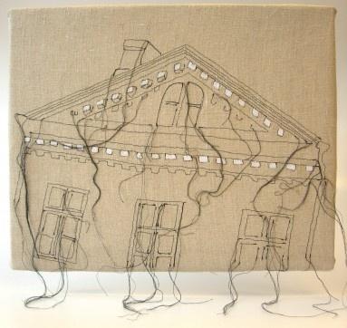 Brinkhallin kartanon pääty, vapaa konekirjonta, pellava 2011