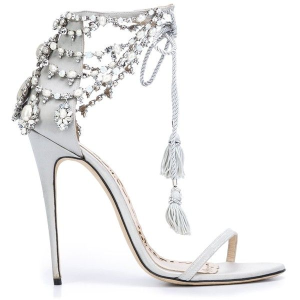 Marchesa 'Marissa' sandals (£980) ❤ liked on Polyvore featuring shoes, sandals, heels, grey, genuine leather shoes, metallic leather sandals, metallic shoes, metallic heel shoes and grey heeled shoes