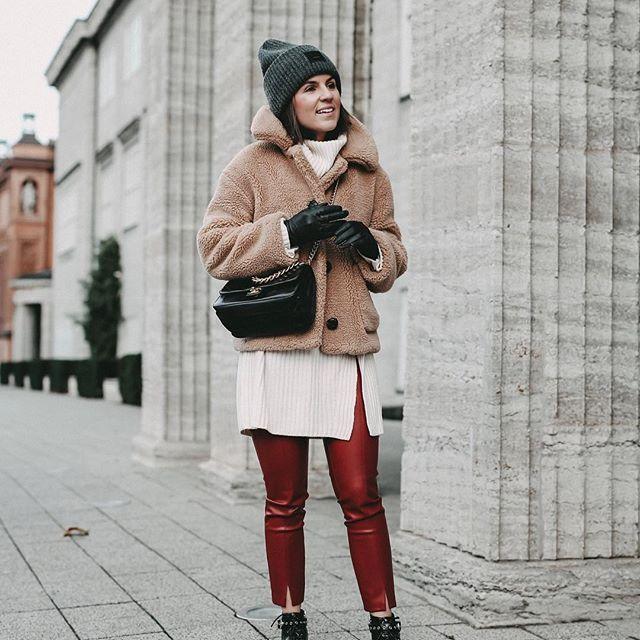 Mantel Streetstyle Winter Inspiration Outfit Teddyfell QdrtshxC