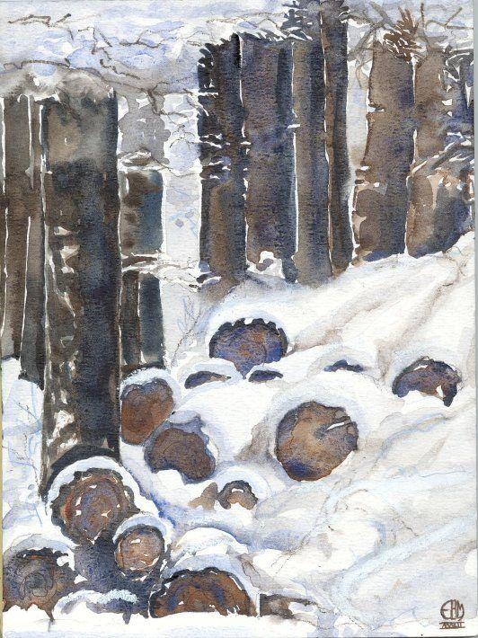 Winter landscape, watercolours, EBM 2002