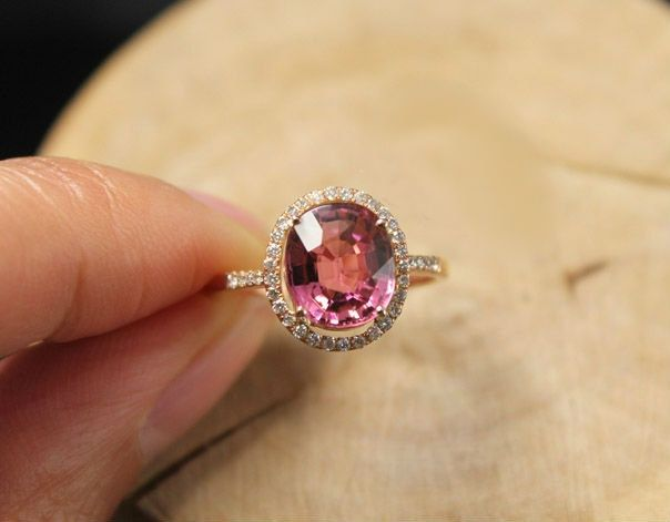 tourmaline gold ring engagement wedding pink carat certified pave rose rings halo handmade