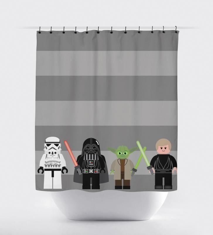 Gray Stripe Block Star Wars Shower Curtain - Print Art Shoppe