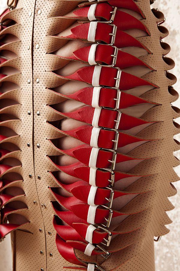 Marina Hörmanseder leather inspiration http://www.glamjam.co/lang/en/2013/07/london-graduate-fashion-week-2013-esmod-berlin-marina-hoermanseder/