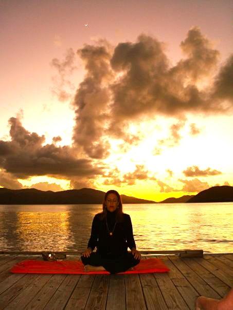Meditating at sunset.
