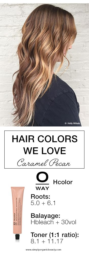 Oway Hcolor - Caramel Pecan! A stunning hair color idea for brunettes with 5.0 Natural Brown and 6.1 Ash and Hbleach Balayage! #Hcolor #Oway