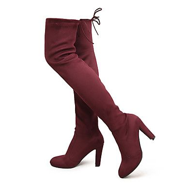 Women+Stretch+Faux+Suede+Slim+Thigh+High+Boots+Sexy+Fashion+Over+the+Knee+Boots+High+Heels+Woman+Shoes+Black+Gray+–+USD+$+39.94