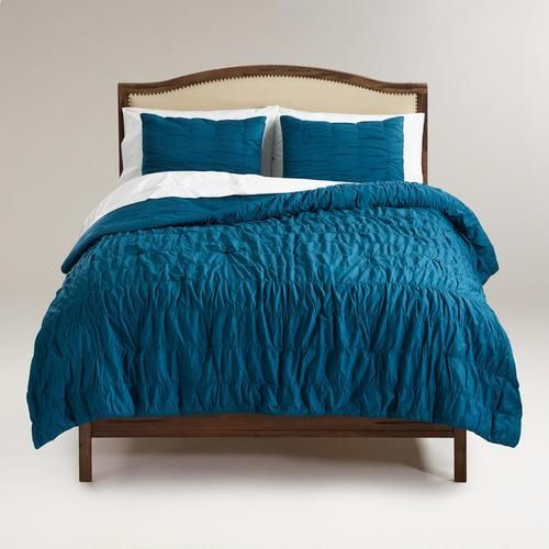 Bedding - Ella Ruched Comforter in Legion Blue | World Market - teal duvet, ruched teal comforter, ruched teal bedding,