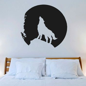 Wall Decal Vinyl Sticker Decals Art Decor Design Wolf Mooon Night howling wolf animal Dorm bedroom Fashion Mural Modern Homeweare (r642)