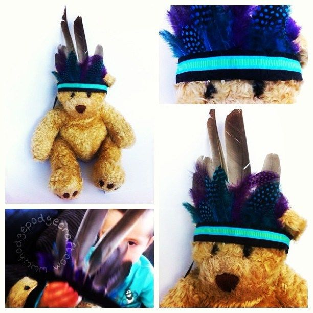 How to make an easy no-sew feather headdress, inspired by the Notting Hill carnival!  (www.hodgepodgecraft.com, dress-up, fancy-dress, West Indian, Caribbean, costume, Brazil, bear, toddler, kids, craft)