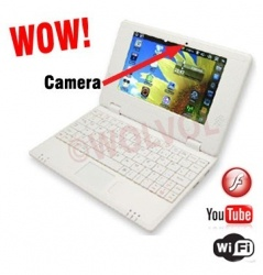 WolVol (Solid White) New Model 7-inch Mini Laptop with Charger Mouse and Velvet Pouch Case (VIA 8850 1.2GHz, 512MB RAM, 4GB HD, Wi-Fi, Webcam, Netflix, Android 4.0) Product sku: 113 Availability: In Stock Price: $119.94