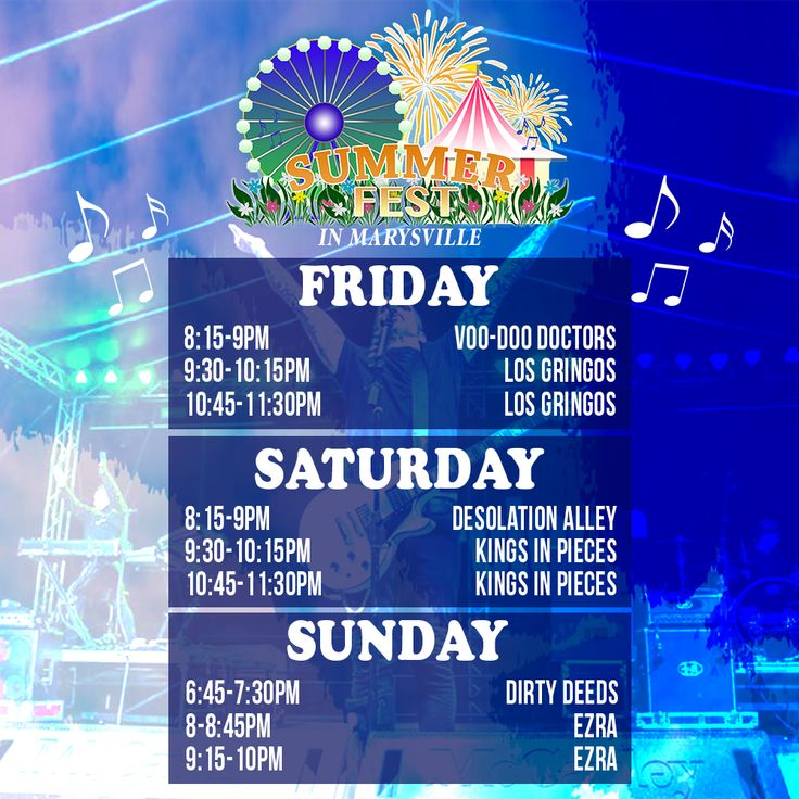 #Summerfest in Marysville Lineup! www.summerfestinmarysville.com #SummerConcert #LocalMusic