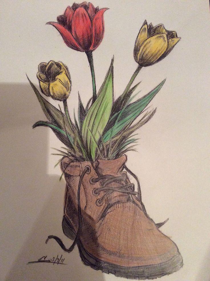 #shoe #shoes #shoefanatic #art #foower #flowers #floral #tulip #tulips