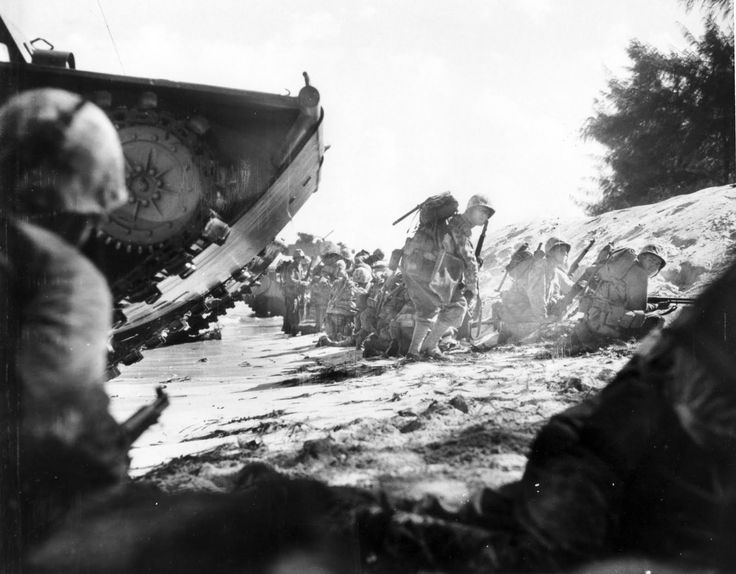 U.S. Marines of either the 2nd or 4th Marine Division landing on the beaches of Saipan on June 15, 1944.