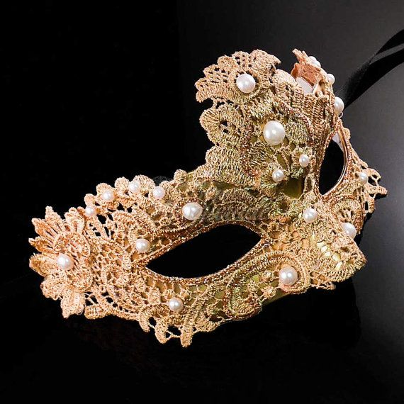 Gold Masquerade Mask Masquerade Mask Brocade Lace by 4everstore