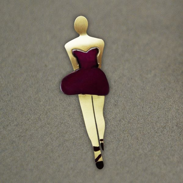Short skirt girl brooch, made from brass, hand-painted with enamel and liquid glass. The clasp is silver. The dimension of the pin is: 7 x 2,3 cm  (2.8 x 0.9 inc)