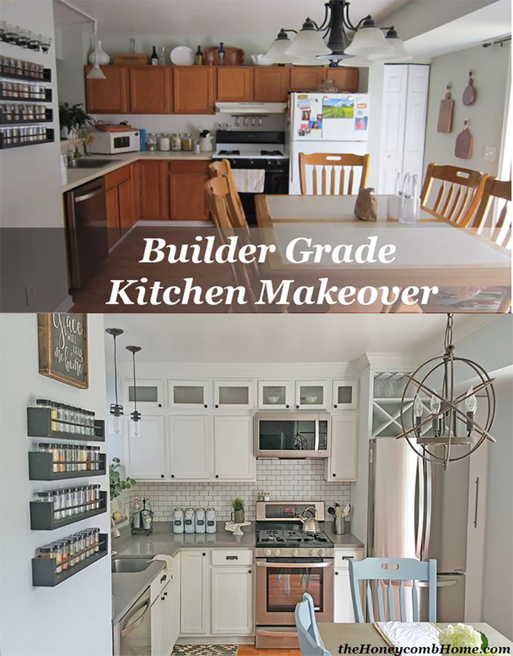 Builder Grade Kitchen Makeover without breaking the bank. Before and After theHoneycombHome.com