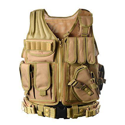 YAKEDA® Tactical Vest Apparecchiatura esterna Esercito campo fan gilet tattico per gli uomini e jungleadventure alpinismo SWAT Tactical Vest Forze Speciali addestramento al combattimento gilet -1063 (color fango)