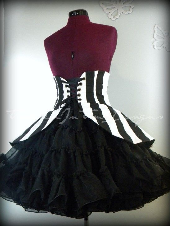 Peplum in Black and White Stripes, Cincher Skirt--Custom Made-- for $60.00 at etsy.com