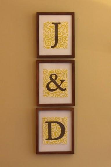 Monogram Wall Art. (Me and Darren =]) very cute.