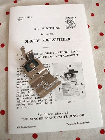 Singer Edger-stitcher foot instructions. Use for attaching lace and Rick rack.